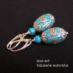 efektowne,kobiece,eleganckie,turkus,niebieskie - Kolczyki - Biżuteria