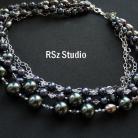 Naszyjniki bogaty naszyjnik z perłami,grafitowy,srebro