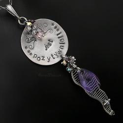 naszyjnik,wrapping,srebrny,swarovski,długi,srebro - Naszyjniki - Biżuteria
