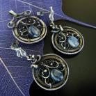 Komplety srebro,kyanit,wire-wrapping,niezwykła biżuteria