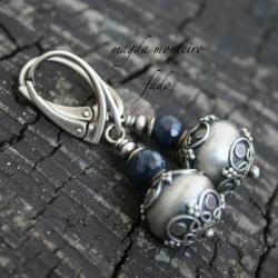 srebro,kolczyki,bali,oksydowane,szafir - Kolczyki - Biżuteria
