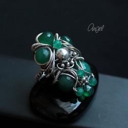 pierścionek,zielony,onyks,misterny,angel - Pierścionki - Biżuteria