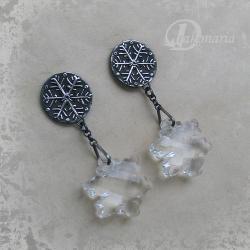 zima,śnieżynka,pogoda,mróz - Kolczyki - Biżuteria