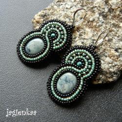 haft koralikowy,elegancki,unikalny,lato - Kolczyki - Biżuteria
