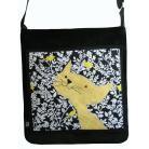 Na ramię torba,a4,kot,czarny,żółty,zamsz,ptaki