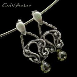 kolczyki,wire-wrapping,srebrne,cyrkonia - Kolczyki - Biżuteria