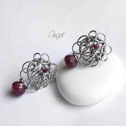 rubin,bordowe,kolczyki,sztyfty,angel - Kolczyki - Biżuteria