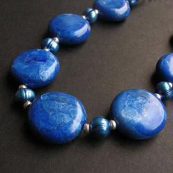 niebieskie,niezwykłe korale,fimo - Naszyjniki - Biżuteria
