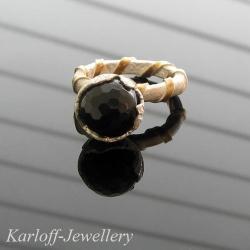 czarny,złocony,unikatowy,elegencki - Pierścionki - Biżuteria