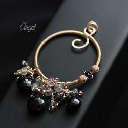 wisior,czarny,złoty,spinel,elegancki - Wisiory - Biżuteria