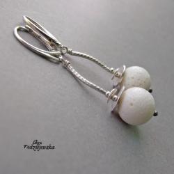 koral biały koral,srebro - Kolczyki - Biżuteria