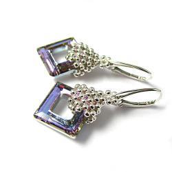 kwadrat,square ring,vitrail,plecione - Kolczyki - Biżuteria