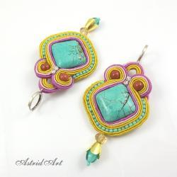sutasz,kolczyki z turkusem - Kolczyki - Biżuteria