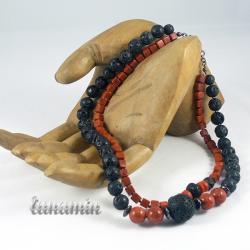 lawa wulkaniczna,naszyjnik,koral, - Naszyjniki - Biżuteria