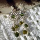Kolczyki plecione,Swarovski,cyrkonia,oliwkowe,krople