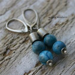 srebro,niebieskie,kolczyki,kolorowe,agat - Kolczyki - Biżuteria