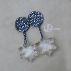 śnieżynki,kolczyki,srebro,śnieg,płatki śniegu - Kolczyki - Biżuteria