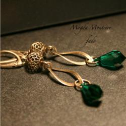 kryształ,srebro,Swarovski,szmaragdowe kolczyki - Kolczyki - Biżuteria