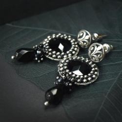 eleganckie,czarne,ekskluzywne,czarne,kobiece - Kolczyki - Biżuteria