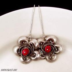 45fdf52edde2 Czerwone czubki. eleganckie z czerwonym koralem - Kolczyki - Biżuteria