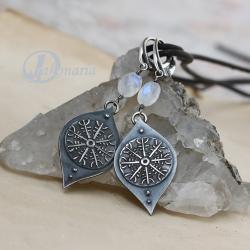 wiking,księżycowy,tarcza - Kolczyki - Biżuteria