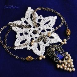srebro,lapis lazuli,srebro pozłacane,ekskluzywny - Naszyjniki - Biżuteria