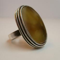 srebro,bursztyn,pierścionek - Pierścionki - Biżuteria