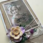 Kartki okolicznościowe dzieczynka,retro,kwiaty,życzenia,eko