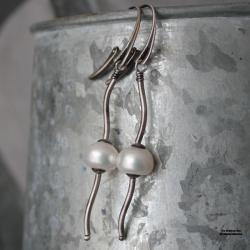 Srebrne kolczyki z perłą naturalną - Kolczyki - Biżuteria