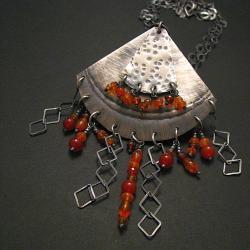 naszyjnik,wisior,pomarańczowy,młotkowany - Wisiory - Biżuteria