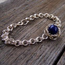 efektowna,modna,kobaltowa,chainmaille,lapis - Bransoletki - Biżuteria