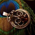 Wisiory kwarc dymny,okrągłe,wire-wrapping,srebro