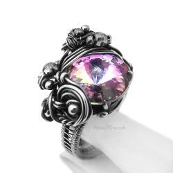 pierścień swarovski,srebrny pierścionek,regulowany - Pierścionki - Biżuteria