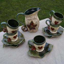 ceramika,kubek,dzbanek,liść,komplet - Ceramika i szkło - Wyposażenie wnętrz