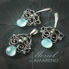Komplety chalcedon,błękitny,srebro,wire-wrapping,