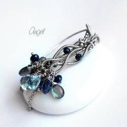 podłużne,kolczyki,rybki,smukłe,granat,błękit - Kolczyki - Biżuteria