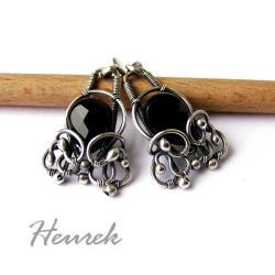 kolczyki,stylowe,czarne,wire-wrapping - Kolczyki - Biżuteria