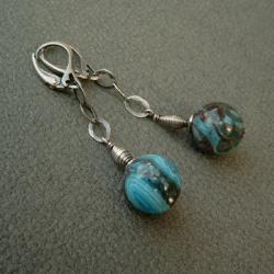 młotkowane oksydowane kolczyki,surowe,niebieskie - Kolczyki - Biżuteria