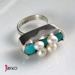 pierscionek,oryginalny,błękitny,okazały, - Pierścionki - Biżuteria