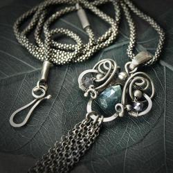 szafir,srebro,niebieski,wisior,wire-wrapping - Naszyjniki - Biżuteria