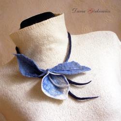 filc,filcowany,filcowy,z filcu,kwiat,kwiaty,liść, - Naszyjniki - Biżuteria