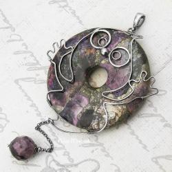 dobry duszek,duch,wire-wrapping,piryt,sugilit,duży - Wisiory - Biżuteria