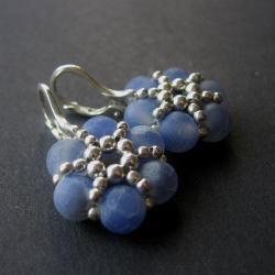 plecione,kwiaty,kolczyki,błękitne - Kolczyki - Biżuteria
