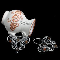 biżuteria artystyczna,srebro,jesienne,wire-wrappin - Kolczyki - Biżuteria
