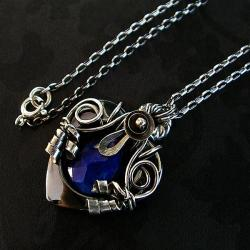 lapis,lazuli,serce,srebrny,autorski,młotkowany - Wisiory - Biżuteria