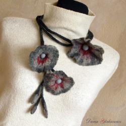 filc,filcowy,kwiat,powój,kwiaty - Naszyjniki - Biżuteria