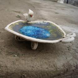 talerz,ptaszek,szkło - Ceramika i szkło - Wyposażenie wnętrz