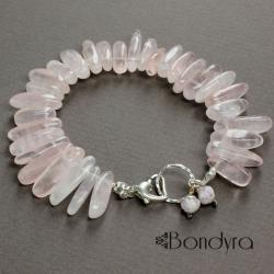 bransoletka,kwarc różowy - Bransoletki - Biżuteria