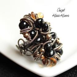 pierścionek,okazały,ekstrawagancki,czarny,duży - Pierścionki - Biżuteria