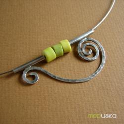 srebro,delikatny,turkus,żółty,wiosenny,lato - Naszyjniki - Biżuteria